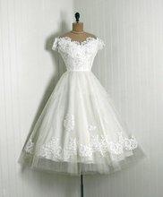 Vintage 1950s Appliqued Lace Wedding Dresses O Neckline Cap Lengan Panjang Teh Gaun Perkahwinan Renda Tulle Girl Vestido De Noiva