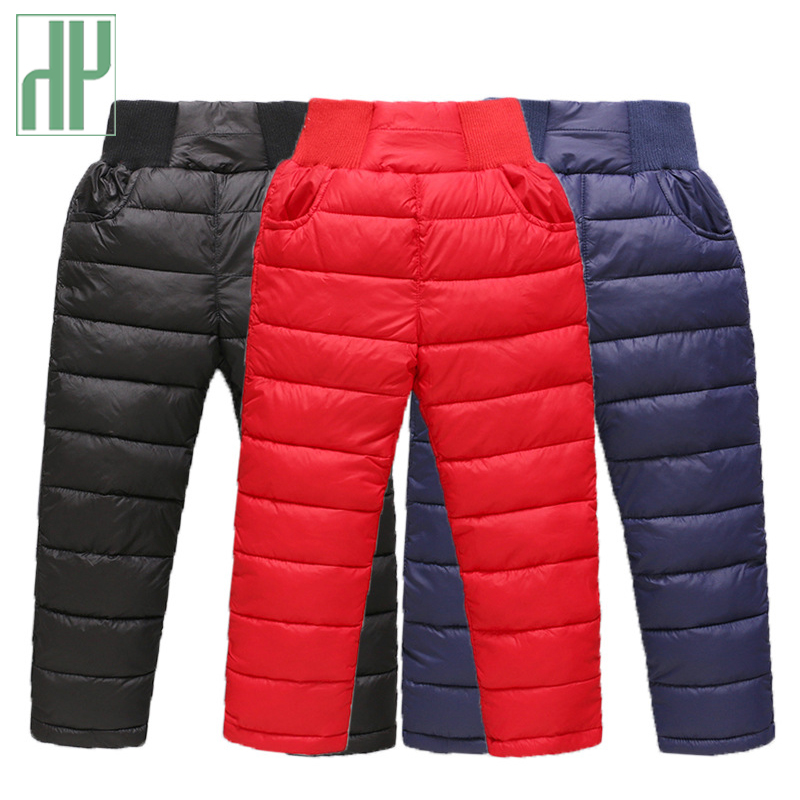 Children Trousers For Girls Boys Long Pants Winter Thicken Warm Down Kids Autumn Clothing Waterproof Snow Pants 3 4 7 8 Years