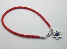50Pcs Red Leatheroid Braided String Star of David Charms Good Luck Bracelets SHL3028