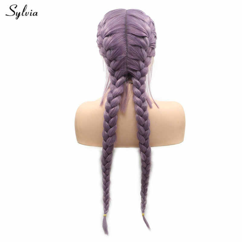Sylvia Natural 2x Twist Braids Wig Blend Purple Lavender Violet Long Double Braided Wigs With Baby Hair Synthetic Lace Front Wig