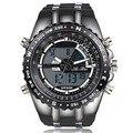 Marca de lujo de Los Hombres Relojes Militares Hombres de Lujo de Acero Dial Cuarzo Reloj de los Deportes Pantalla LED de Pulsera relogios masculinos 2016