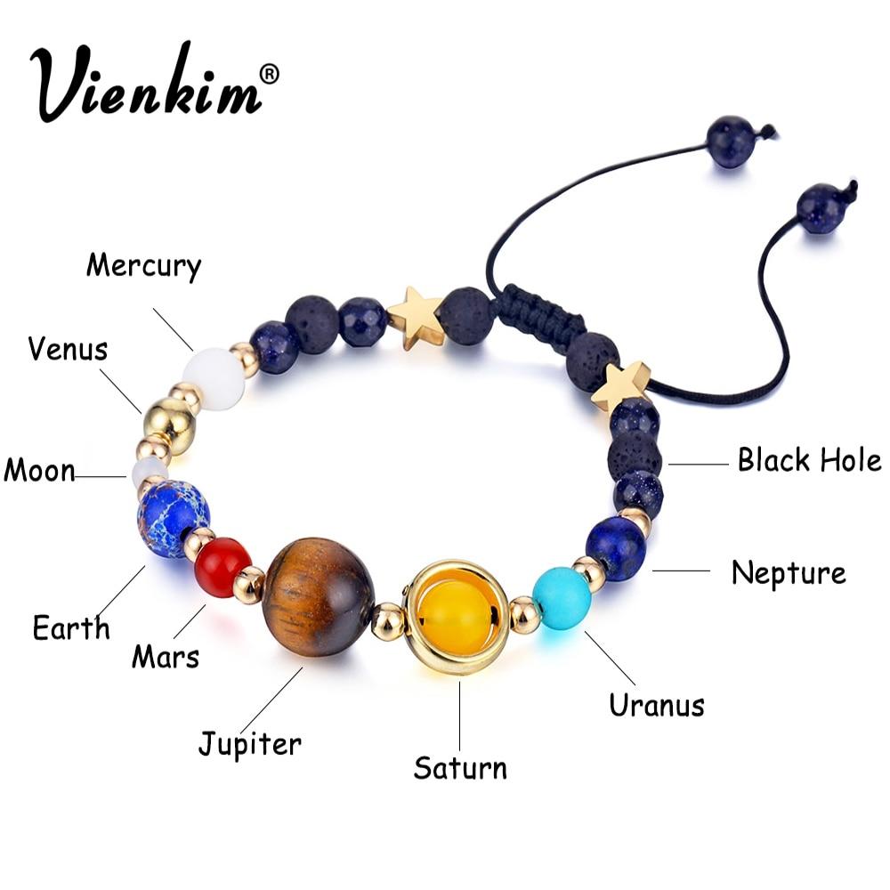 Vienkim Universe Planets Beads Bangles & Bracelets Fashion Jewelry Natural Solar System Energy Bracelet For Women or Men 2019 bead