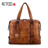 AETOO Handmade men's handbag leather casual trend leather briefcase cross section diagonal package soft leather computer bag