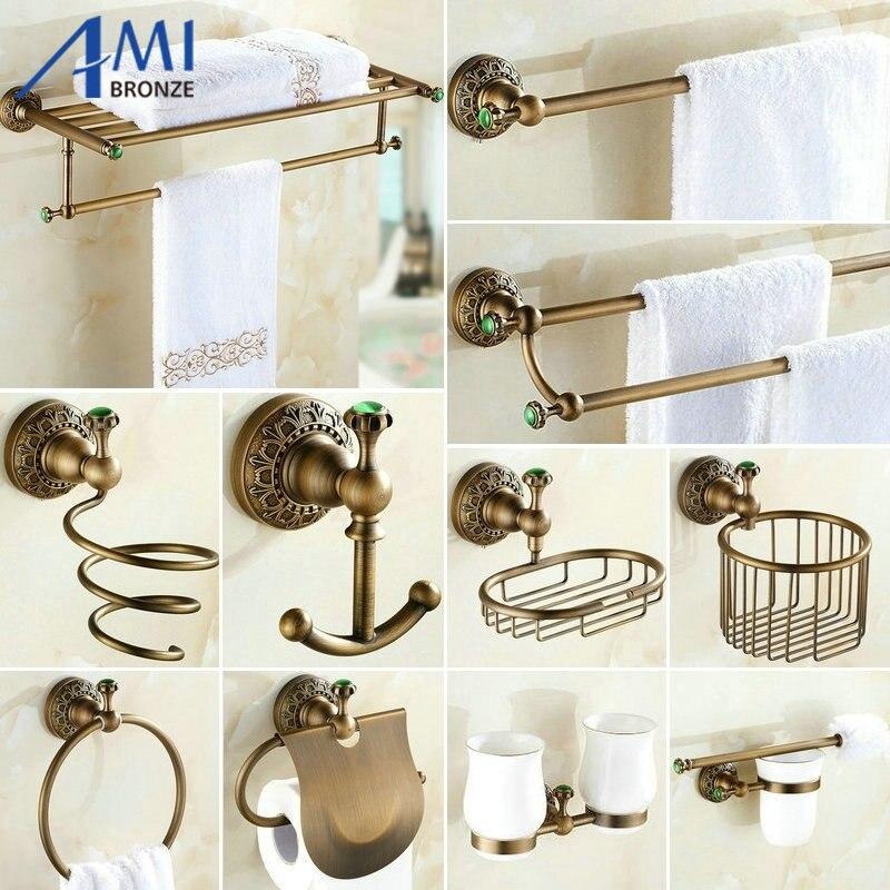 antico spazzolato rame intagliato verde giada accessori per il bagno bagno portasciugamani barra di tovagliolo di