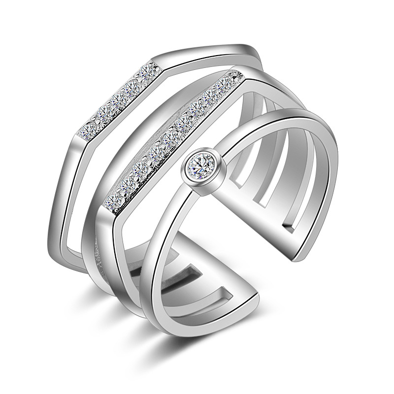 PATICO Authentic 925 Sterling Silver Rings for Women Men Special Multi Layers CZ Crystal Wedding Party Jewelry High Quality