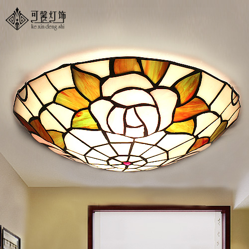 European garden balcony corridor aisle hall led round ceiling lamps Tiffany stained glass lamp entrance цена 2017