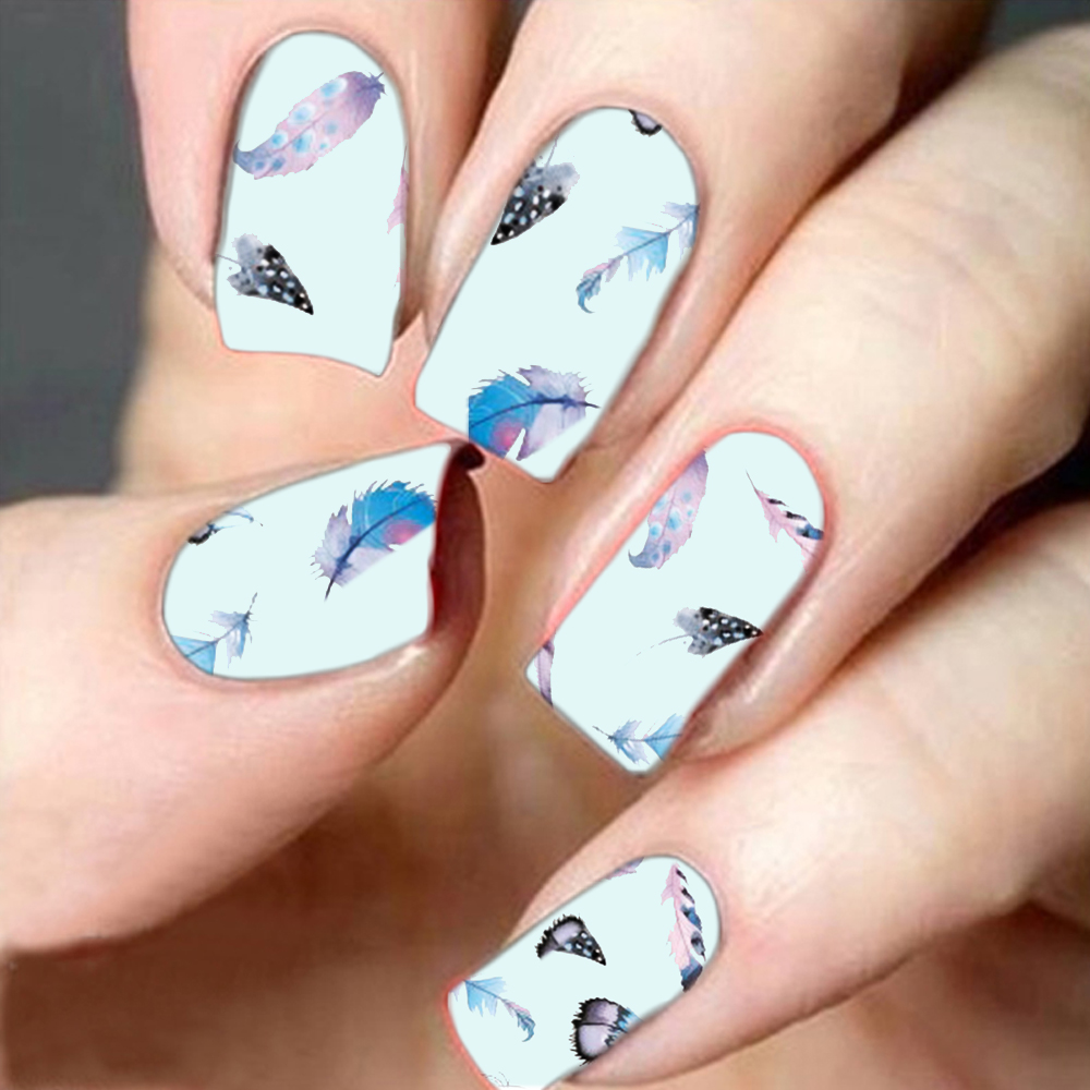 1pcs Feather Designs Nail Decals Nail Art Water Transfer Stickers ...