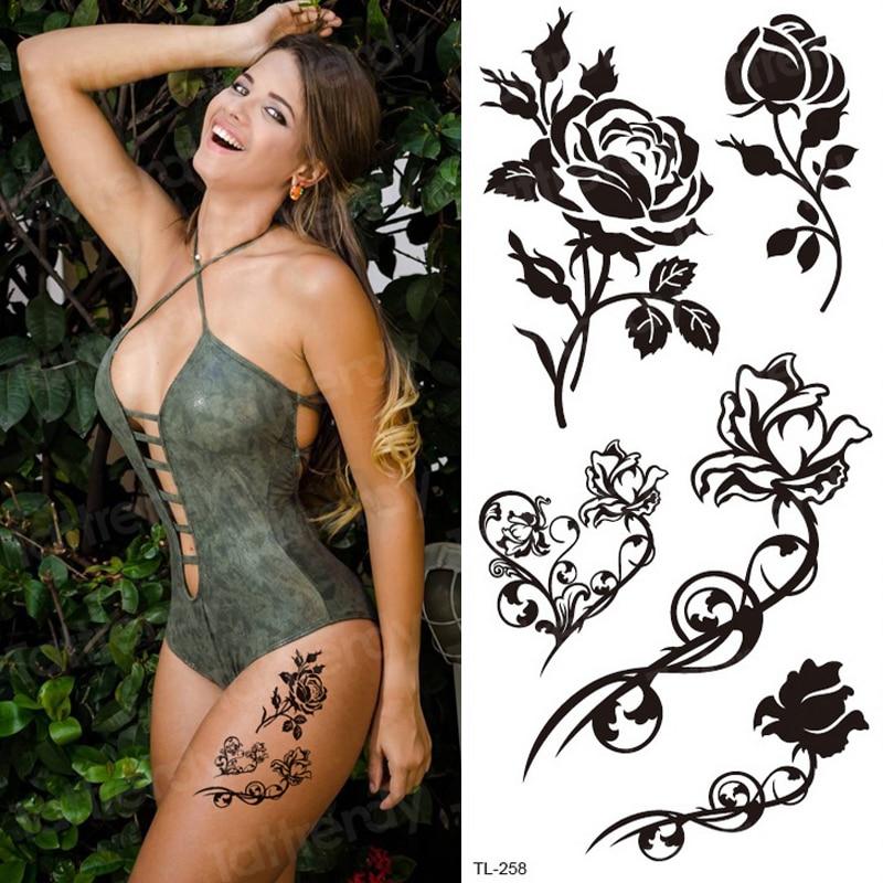 temporary tattoo sticker flower black rose stickers bikini waterproof temporary tattoos girls body art fake tatoo leg neck hand