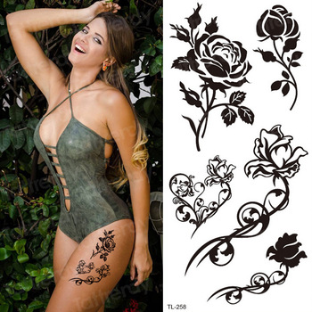 temporary tattoo sticker flower black rose stickers bikini waterproof temporary tattoos girls body art fake tatoo leg neck hand
