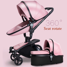 Rotating Seats Leather Fabric Stroller Folding Bi-directional High Landscape Shock Baby Stroller Can Sit Lie Cart 3 in 1 baby shock absorber stroller folding stroller cart high landscape children can sit 360 degrees baby transport