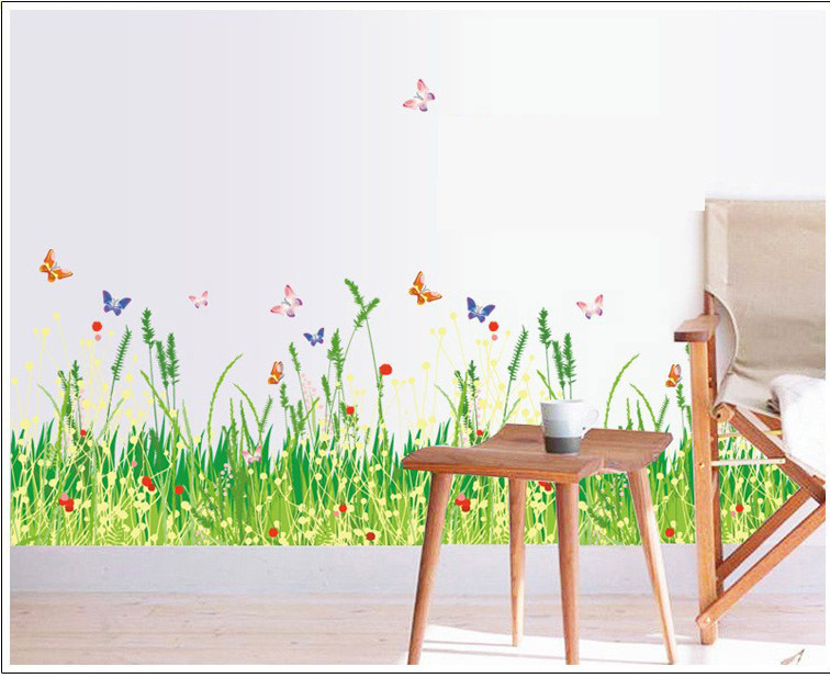 Nature Grass Wall Decals Fence Stickers For Stair Vinyl Mural Wall - Wall decals grass
