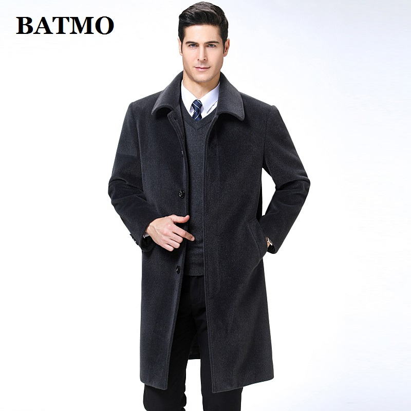 BATMO 2019 new arrival autumn&winter high quality cashmere long trench coat men,men's jackets,warm coat,plus-size M-XXXL,9188