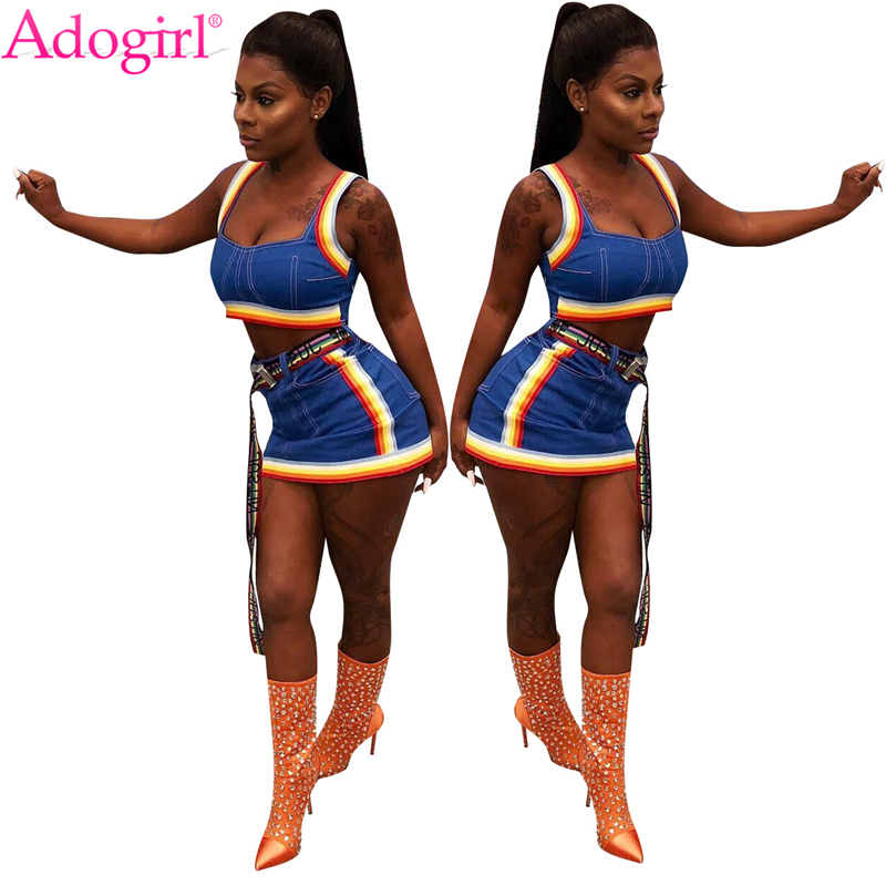 Adogirl Colorful Braid Jeans Two Piece Set for Women Sexy Cropped Tank Top Mini Skirt Female Night Club Outfit Summer Suits