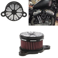 Black Silver Motorcycle CNC Rough Crafts Air Cleaner Intake Filter System Fits For HD Harley Sportster