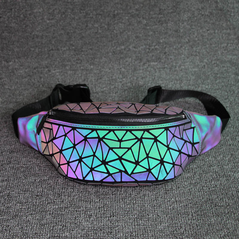 Fashion Women Waist Bag Fanny Pack Luxury Brand Geometric Luminous Belt Bag Holographic Travel Men Chest Bags Handbag Waist Pack