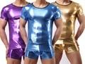 Hombres de la camiseta PVC pijama conjunto ropa de dormir ropa interior atractiva para hombre camisetas las camisetas camisetas imitación de cuero Casual corto manga de los boxeadores