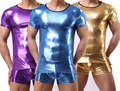 Men T Shirt PVC Pajama Set Sleepwear Sexy Mens Underwear Tees Undershirts Tshirts Faux Leather Casual Short Sleeve Boxers