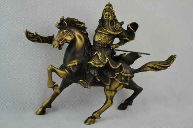 SCY Handwork Old Copper Carving Guan Yu Ride Horse Gallop Rare Lucky Big Statue /