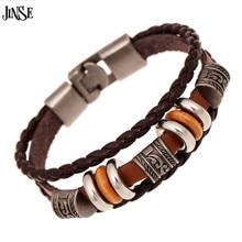 JINSE DF002  Wristband Wholesale 20cm Vintage Leather Bracelet Jewelry Bijouterie Unisex Girls Woman
