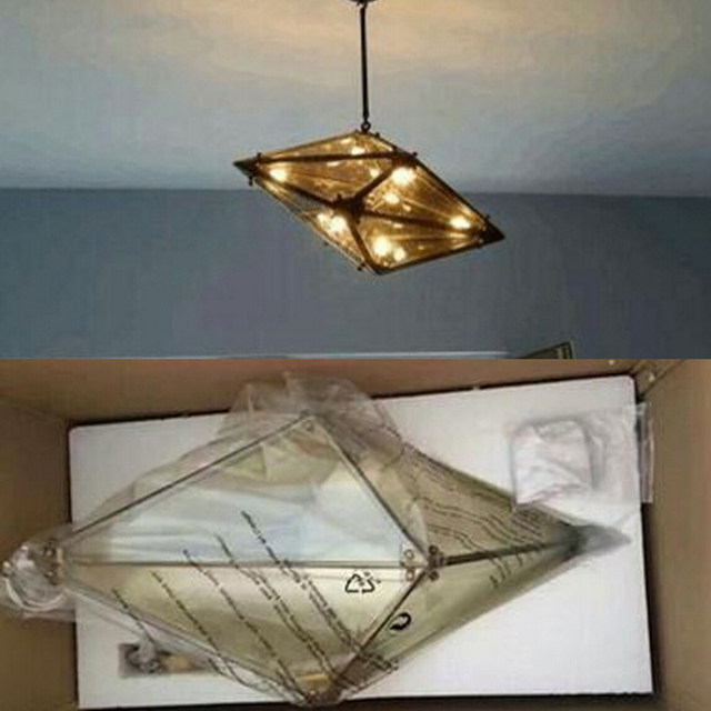Nordic Post Modern Geometric Chandeliers Dining Glass Faceted Diamond Chandelier
