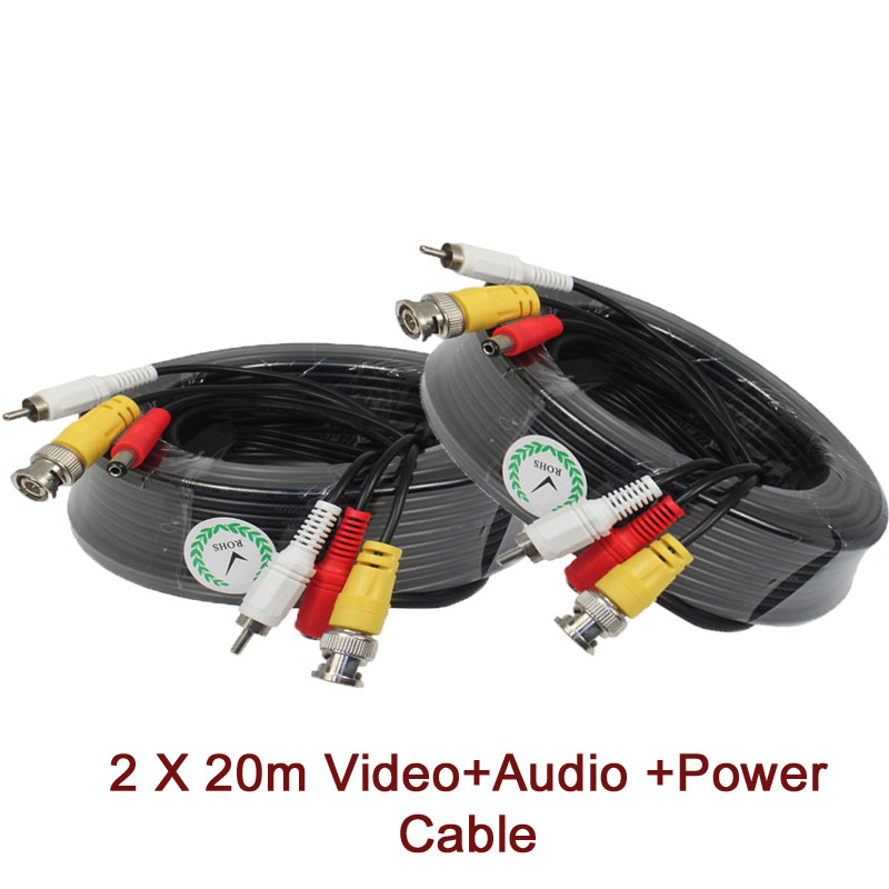 20M CCTV Cable with Audio RCA connector Video Audio DC Power Cable 3 in one for CCTV camera, BNC+RCA+DC free shipping