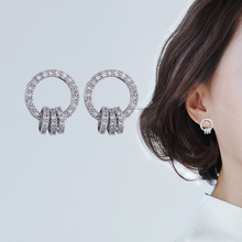 2019 New Arrival Micro Pave CZ Zircon Circle Earrings Fashion s925 Silver Crystal Earring Women Wedding Jewelry Dropshippinng