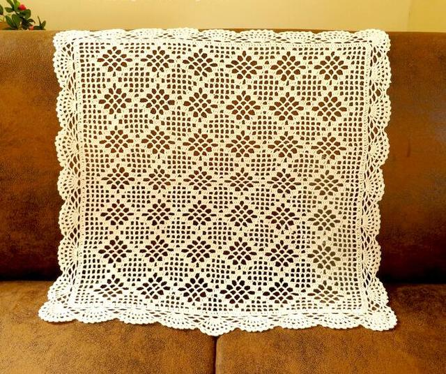 Handmade Crochet Flower Rectangle Tablecloths Cotton Sofa Towel Vase