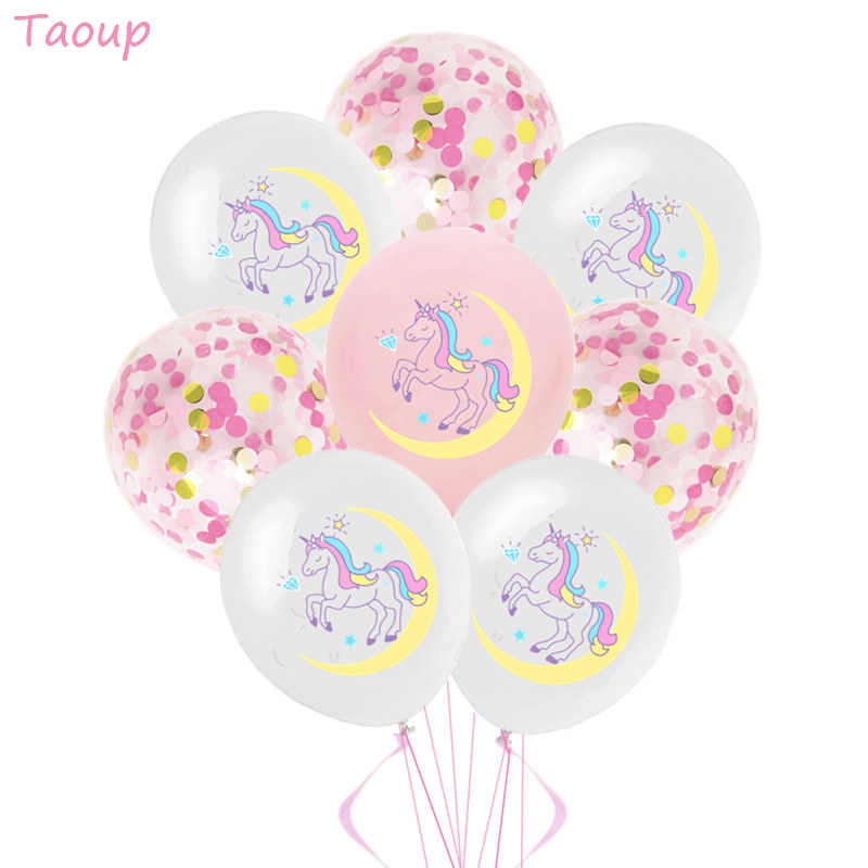 Taoup Carino 10pcs 12 pollici Di Compleanno Unicorno Palloncini In Lattice Palloncini Confetti Felice di Compleanno Per Bambini Palloncini Aria Del Partito Unicornio