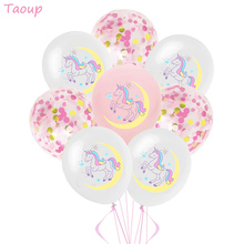Taoup Cute 10pcs 12inch Birthday Unicorn Balloons Latex Confetti Happy Childrens Air Party Unicornio