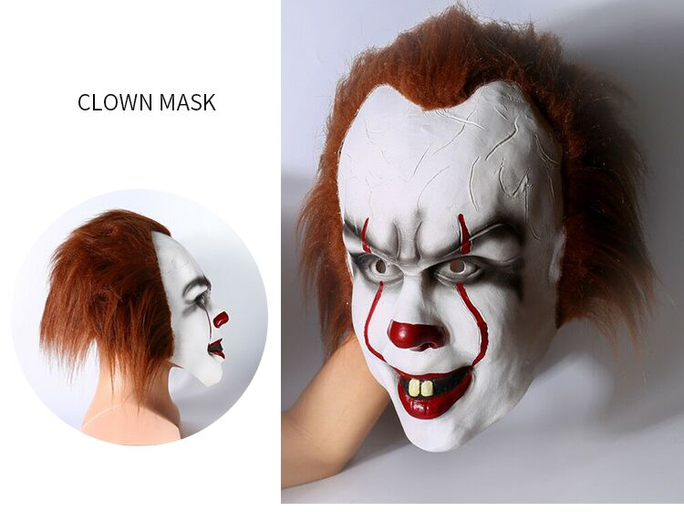 Stephen King's It 2017 Movie Pennywise Cosplay Joker Mask Halloween Full Face Clown Mask cosplay for Halloween Carnival