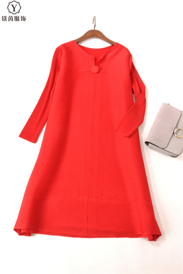 FREE SHIPPING Fashion Miyake fold dress pure color long sleeve style clasp dress IN STOCK - 5