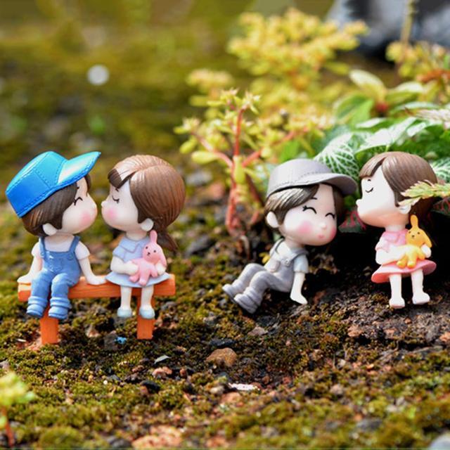 3Pcs/Set Lovers Chair Miniature Landscape DIY Ornament Garden Dollhouse Decor