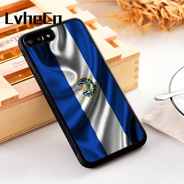 Lvhecn 5 5 S SE Penutup Telepon Kasus untuk iPhone 6 6 S 7 7 Plus X XS Max Xr Silikon Lembut TPU Nasional El Salvador Simbol Bendera