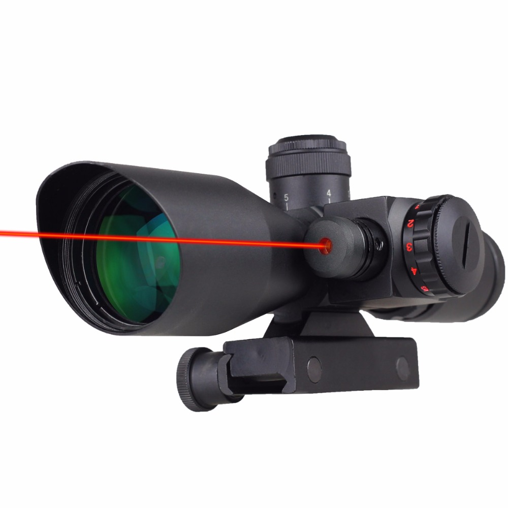 VERY100 NEW Tactical Red Dot Laser Sight 2.5~10X 40mm Scope Reflex Red / Green Reticle Mount Free Shipping! 3 10x42 red laser m9b tactical rifle scope red green mil dot reticle with side mounted red laser guaranteed 100%