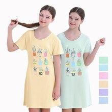 Girls Clothing Nightdress Teenage Children Short Sleeve Cotton Nightgown Pajamas Potted Plants Design Sleepping Dress Homewear