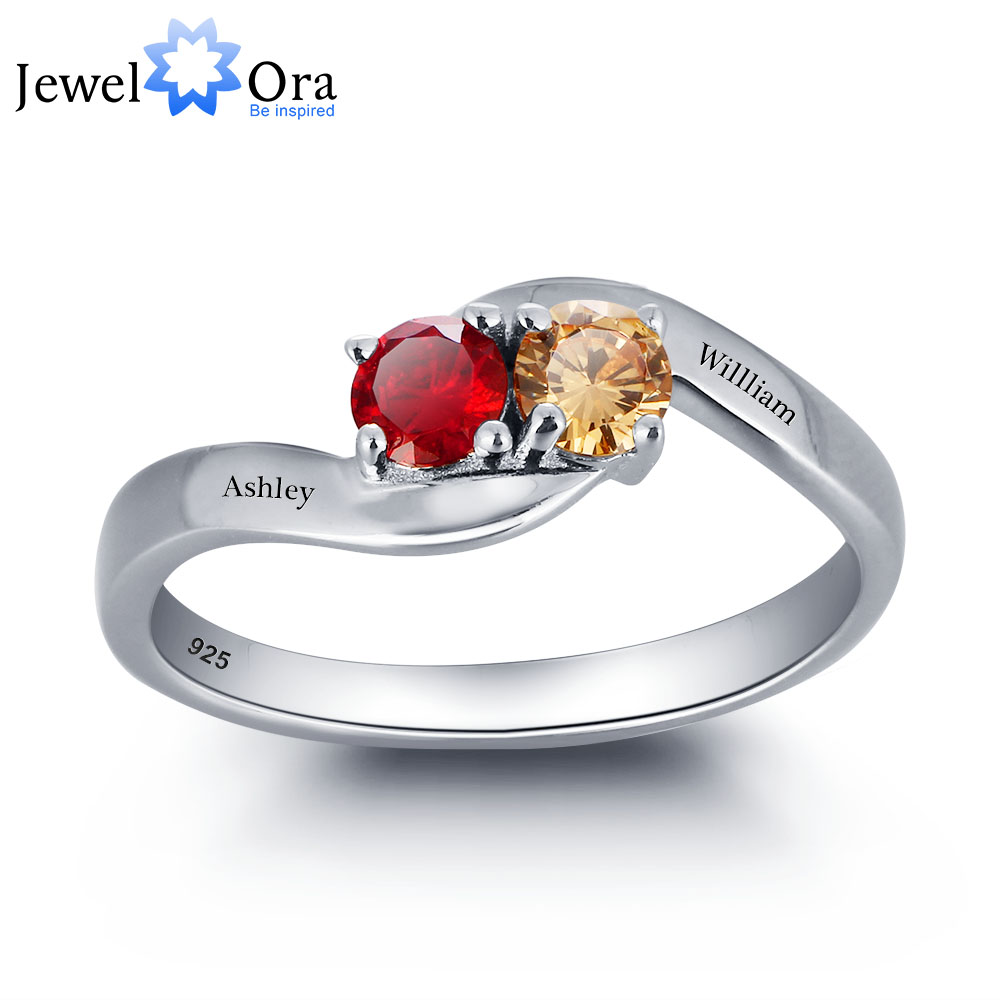 цена на Personalized Love Promise Ring Simple 925 Sterling Silver Cubic Zirconia Ring Valentine's Day Gift (JewelOra RI101791)