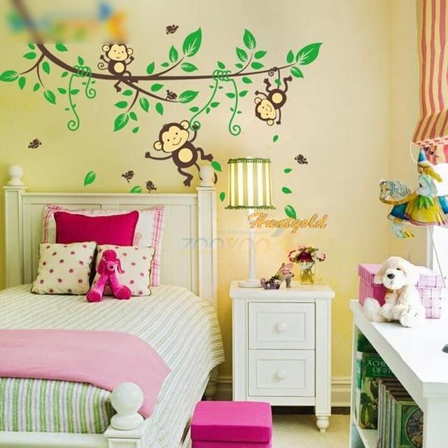 Removable Jungle Monkey Play Wall Stickers Decals Nursery Kids Room ...