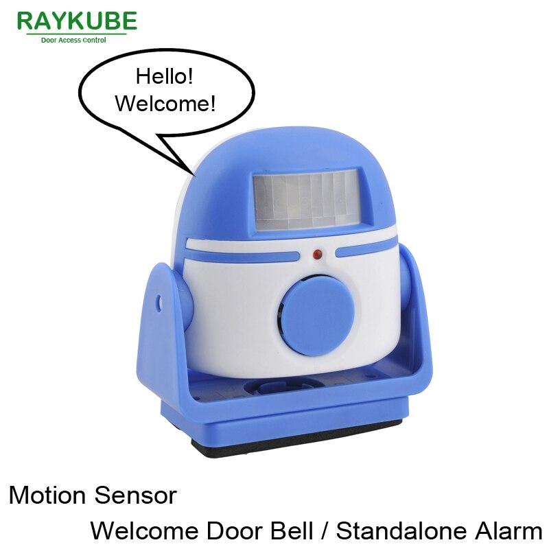 RAYKUBE Welcome Door Bell Motion Sensor Warning Doorbell Standalone Infrared Sensor Alarm R-818 qiachip 2017 brand wireless digital doorbell with pir motion sensor infrared detector induction alarm door bell button home diy