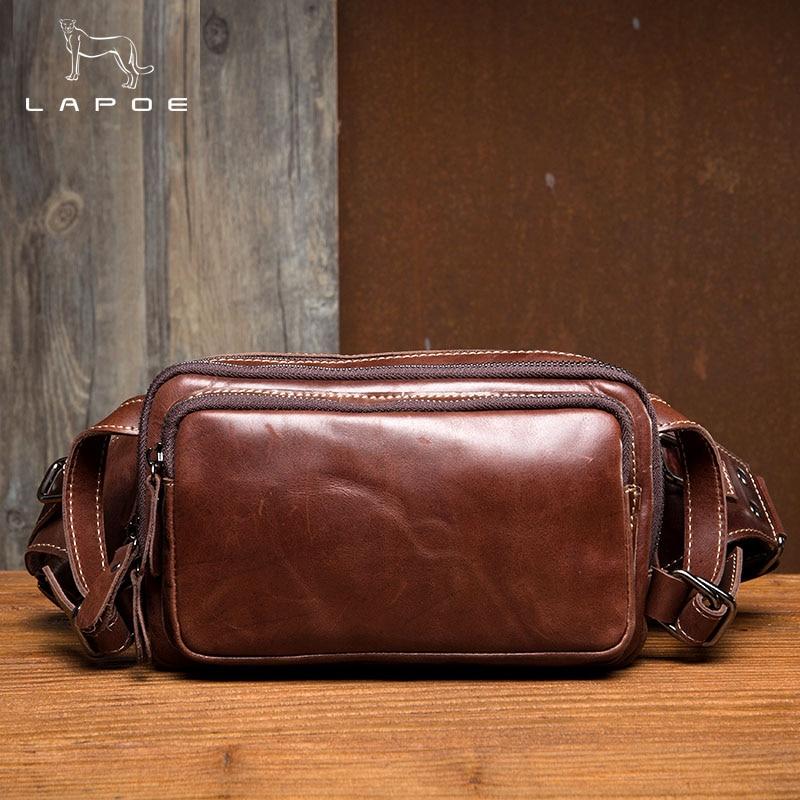 LAPOE Men Waist Bag Phone Case Cover Travel Money Belt Bag Genuine Leather Men Bags Leather Waist Pack Fanny Pack Waists Pouch