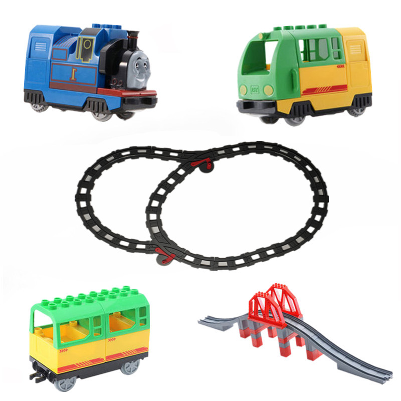 Big Size Diy Building Blocks Duplo Train Track Accessories Railway Points Curved Crossover Bridge Parts Bricks Kids Toys Gift