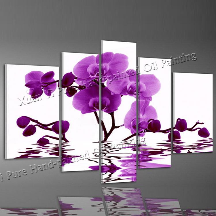 5 Panel Wall Art Hand Painted Purple Elegant Flower Abstract Landscape Oil Painting Home Decor