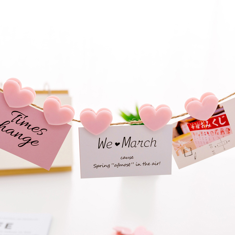 5/10  Pcs Novelty Heart Shape Pink Color Mini Plastic Binder Clips Notes Letter Paper Clip Office Supplies