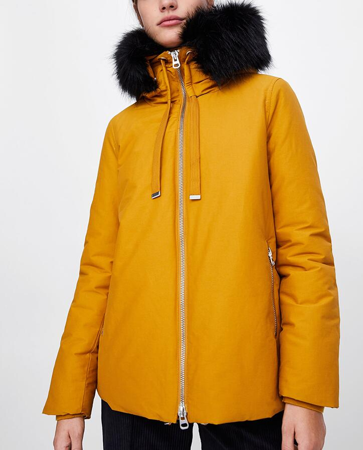 WISHBOP Woman MUSTARD QUILTED Puffer   PARKA   WITH HOOD removable faux fur trim zip pockets elastic hem Winter 2018 Warm Coat