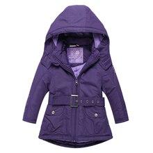 Christmas Girls Coats and Jackets Winter Girls Jacket Hooded Kids Coat with Sashes Roupas Infantis Menina Girls Outerwear