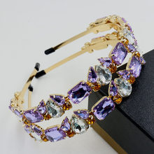 Summer New Women purple Crystal crown gem luxury banquet loving sweet alloy headband the Hair band hair accessories Jewelry Gift(China)