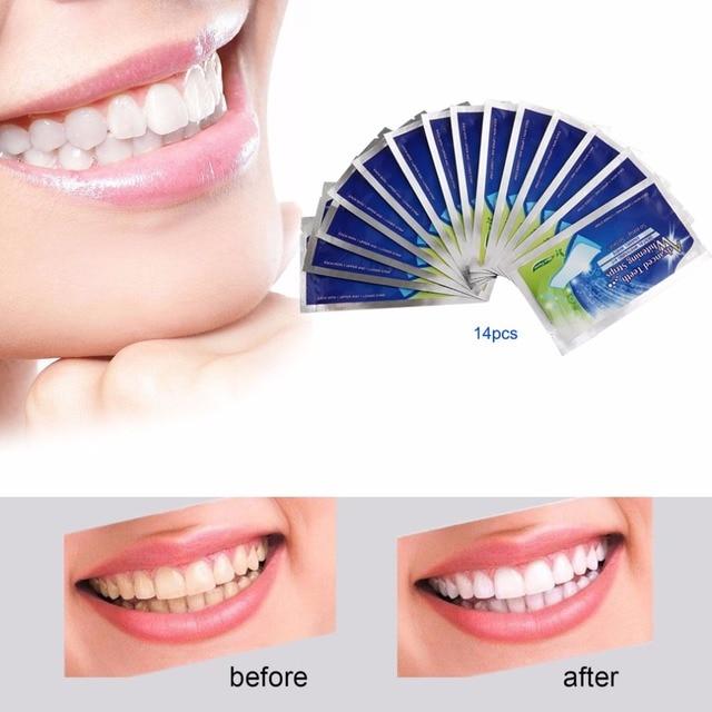 28 unids/14 Par 3D gel blanco Blanqueadores de dientes tiras artículos de higiene bucal Cuidado doble elástico dientes tiras Blanqueamiento Dental Herramientas
