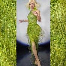 494dfde08e3c1 Yeşil Püsküller Kristaller Sıska uzun elbise Kadın Moda Bar Kıyafet Parti  Saçaklı Rhinestones dans kostümü Gösterisi Sahne Giyim