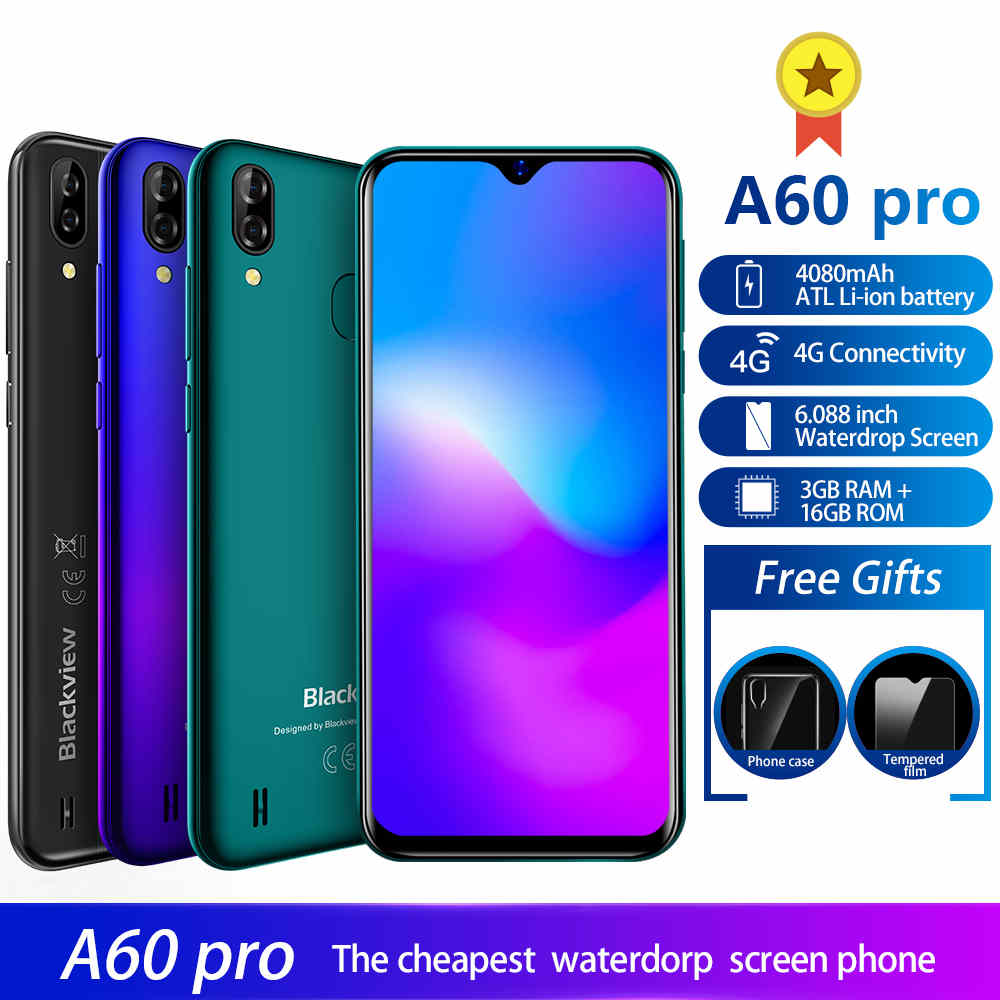 Blackview A60 Pro 3GB 16GB MTK6761 Quad Core Android 9 0 4G Mobile Phone 6 088