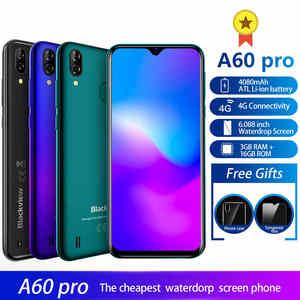 Смартфон Blackview A60 Pro, 3 ГБ 16 ГБ, четырёхъядерный процессор MTK6761, Android 9,0, 4G, мобильный телефон, экран 6,088 дюйма, 4080 мАч, двойная задняя камера, распо...