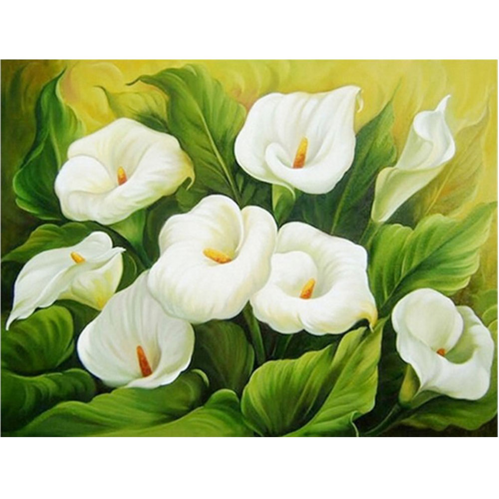 Moge 5D DIY diamond painting flowers calla lily Diamond embroidery full flowers lily Mosaic Diamond Painting full flowers lily in Diamond Painting Cross Stitch from Home Garden